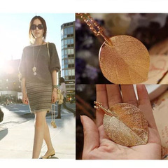 New Women Necklace Fashion Women Jewelry Elegant Large Leaf Design Dangle Pendent Ladies Accessories gold one size