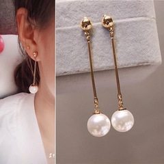 Women Earrings New Trendy Women Jewelry Imitation Pearl Ear Stud Dangle Pendant Ladies Accessories gold and pearl white one size