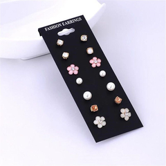 7 Pairs/Set Women Earrings New Fashion Pearl Jewelry Crystal Rhinestone Flower Stud Accessories muticolor one size
