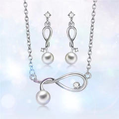 New Fashion Women Twisted Necklace Elegant Earrings Women Accessories New Pearl Alloy Ladies Set silver one size