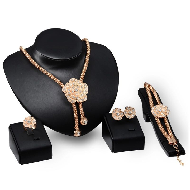 5 Pieces Jewelry Set Women Flower New Necklace Crystal Earrings Bracelet Ring Party Accessories gold one size