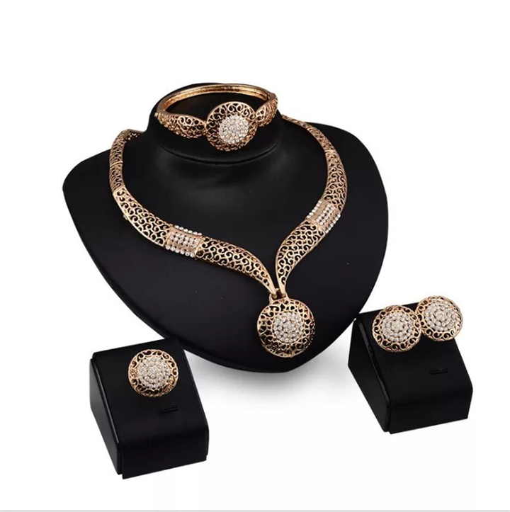 5 Pcs New Jewelry Sets Women Rhinestone Bracelet Pendant Necklace Earrings Ring Accessories gold one size