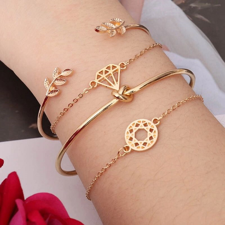 4 Pcs Jewelry Set Women New Bracelet Hear Knot Leaf shape Open Hook Ladies Bangle Casual Accessories gold one size