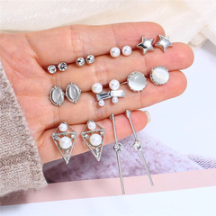 9 Pairs Earrings New Women Jewelry Set Crystal Opal Casual Rhinestone Women Formal Accessories silver one size