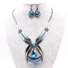 3 Pcs New Fashion Women Jewelry Set Water Drop Earrings Pendant Necklace Rhinestones Accessories blue one size