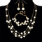4 Pcs Women New Jewelry Imitation Pearl Chunky Pendant Chain Necklace Bracelet Earrings Sets pearl white one size