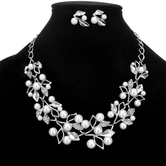 3 Pcs New Jewelry Sets Delicate Crystal Flower Necklaces Leaf Earrings Women Casual Accessories silver one size