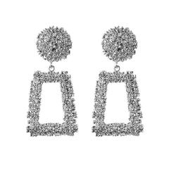 New Women Earrings Metal Rectangular Women Jewelry Pendent Drop Elegant Ladies Accessories silver one size