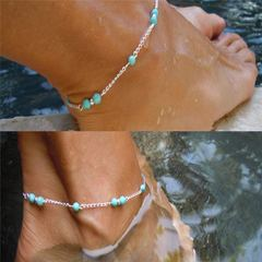 New Women Ankle Bracelet Foot Women Jewelry Zircon Beads Quality Chain Anklet for Ladies Accessories sliver and turquoise one size