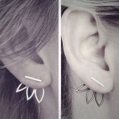 New Trendy Women Earrings Hollow Lotus Flower Women Jewelry Stylish Earrings Stud Ladies Accessories silver one size