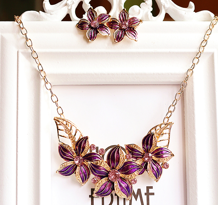 3 Pcs Jewelry Sets Crystal Flower Necklace Earrings High Quality Chain Stone Style Accessories gold one size