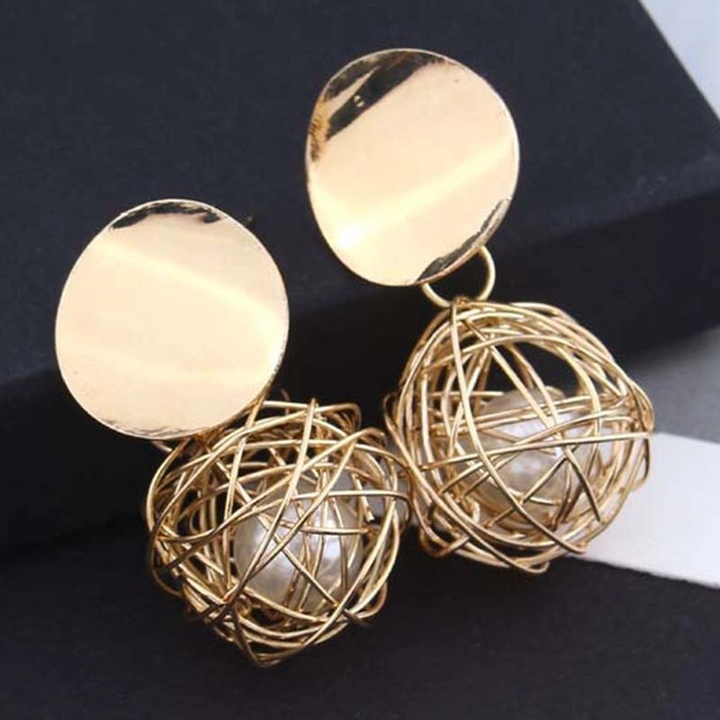 New Women Jewelry Metal Earrings Ball Geometric Circle Drop Modern Ladies Accessories Stud gold one size