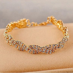 New Fashion Women Bracelet Rhinestone Crystal Alloy Women Jewellary Charm Bangle Ladies Accessories gold one size