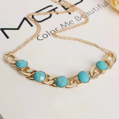 New European Fashion Women Necklace US Explosion Models Women Jewelry Rhinestone Ladies Accessories gold and blue one size