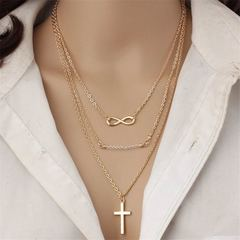 New Modern Women Jewellery Multilayer Women Necklace Infinity Design Pendant Ladies Accessories gold one size