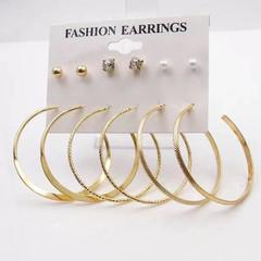 6 Pairs New Set Women Earrings Circle Rhinestone Women Jewellery Earrings Stud Ladies Accessories gold one size