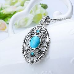 Women New Necklace Zinc Alloy Stone Women Jewellery Crystal Heart Flower Pendant Ladies Accessories sliver and turquoise one size