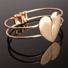 New Women bracelet Trendy concise Peach Heart Women Jewellery Alloy Open Bangle Ladies Accessories gold one size