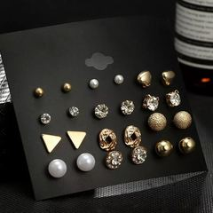 12 Pairs Women Earrings Set Square Crystal Heart Stud Flower Pearl Women Jewellery Accessories color as picture one size