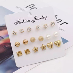 9 Pairs Women Earrings Set Square Crystal Heart Rhinestone Pearl New Women Jewellery Accessories color as picture one size