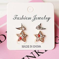 2 Pairs Women Earrings Rhinestone Star Shape Angel Wings Zircon Style Women Jewellery Accessories gold and silver one size