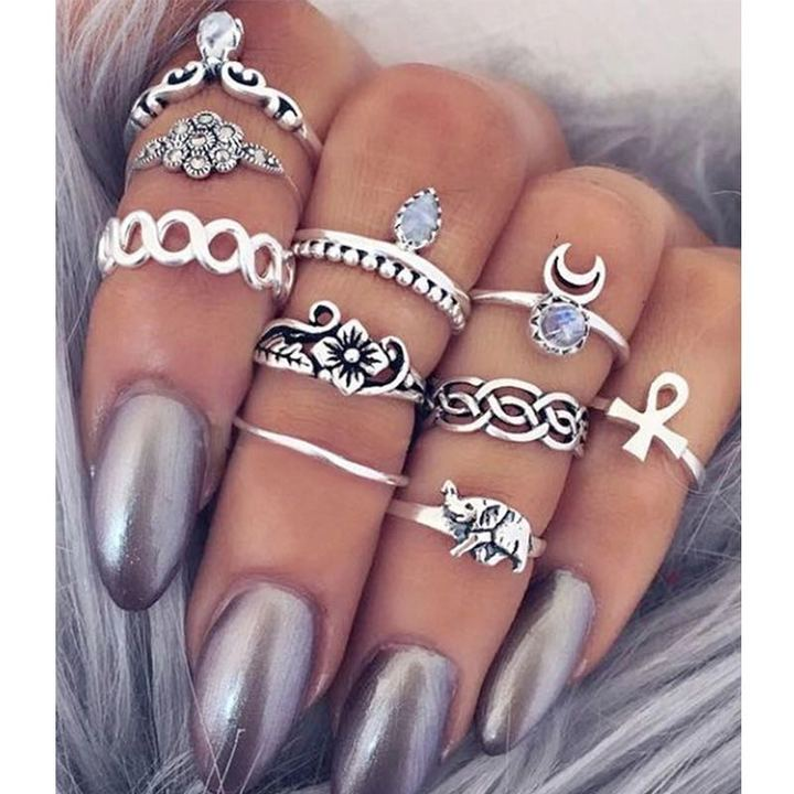 10 Pcs/Set Jewellery Women Ring New Finger Knuckle Rings Rhinestone Flower Moon Ladies Accessories silver one size