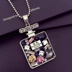 New Fashion Women Necklace Colorful Crystal Rhinestone Women Jewellery Bottle Pendant Accessories muticolor one size