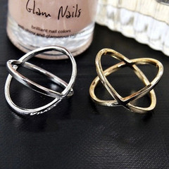 Women New Fashion Ring Cross Dimensional Circle Design Women Jewellery Rings Ladies Accessories gold one size
