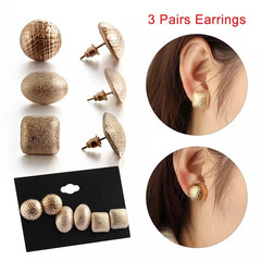 3 Pairs New Women Earrings Gold Color Earring Stud Women Jewellery Elegant Metal Ladies Accessories gold one size