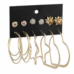 6 Pairs New Fashion Women Earrings Set Circle Heart Stars Rhinestone Women Jewellery Accessories gold one size