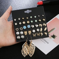 20 Pairs Super Value Women Earrings Set Pearl Rhinestone Crystal Women Jewellery Ladies Accessories gold and multicolor one size