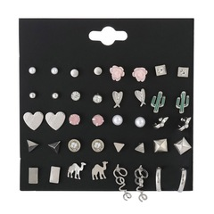20 Pairs Concise Women Stud Earrings Rhinestone Metal Desert Plants Animals Jewellery Accessories multicolor one size