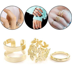 3 Pcs European Fashion Women Rings Metal Gold Color Leaf Above Knuckle Finger Ring Set Accessories gold one size