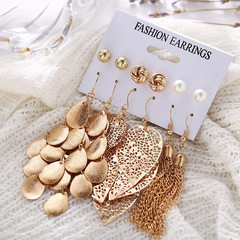 6 Pairs Luxury Women Earrings Set Hollow Leaf Circle Designed Pendant Pearl Women Stud Jewellery gold one size