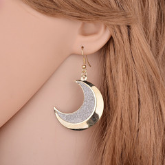 New Stylish Women Earrings Quality Matte Moon Shaped Women Jewellery Elegant Ladies Accessories gold and grey one size