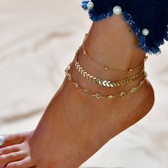 3 Pcs Women Anklets Popular Design Women Jewellery in Europe New Fashion Ladies Accessories gold one size