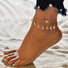Women Ankle Chain Multilayer Women Anklets Leaf Star Shape Women Jewellery Fashion Accessories gold one size