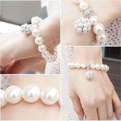 Women Large imitation Pearl Bracelet New Fashion Women Jewellery Ball Beads Design Accessories silver and pearl white one size