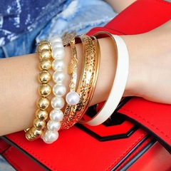 6 Pcs Creative Style Women Bracelets Set Pearls Metallic Beads Pendant Bangle New Women Accessories white one size