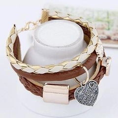 New Cowboy Style Women Bracelet Stylish Brown Leather Heart Women Jewellery Metal Ladies Accessories brown one size