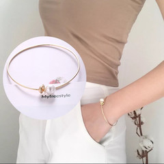 New Trendy Women Bracelet Concise Style Imitation Pearl Opening Bangle Fashion Jewellery Accessories gold and pearl white one size