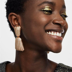 2 Combined Pieces Stylish Women Earrings Stud New trapezoid Women Jewellery Quality Accessories gold one size