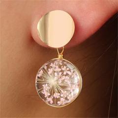 New Fashion Women Earrings Stud Glass Rhinestone Women Jewellery Flower Inside Design Accessories gold and pink one size
