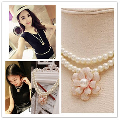 Gorgeous Women Necklace Unique Imitation Pearls Chain Flower Pendant Jewellery New Accessories pearl white one size