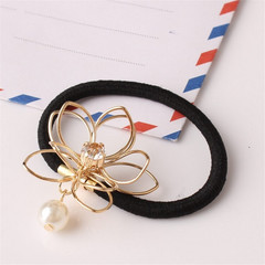 Unique Design Women Headband Hollow Lotus Pearls Hair Accessories Ponytail Hair Band Jewellery as picture one size