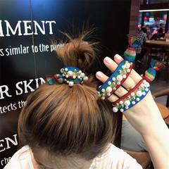 New Stylish Women Headband Leopard Rainbow Elastic Hair Band Ponytail Holder Women Hair Accessories multicolor one size