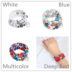 4 Pcs Vintage Women Bracelets Set Multicolor Beads tree Women Jewellery Metal Ladies Accessories red one size