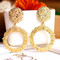 New Women Jewelry Fashion Circle Drop Earrings European Gold Color Casual Ladies Accessories gold one size