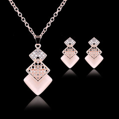 3 Pcs/set Luxury Women Necklace High Quality Women Earrings Square Crystal Rhinestone New Jewellery gold and light pink one size