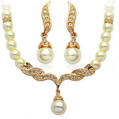3 Pcs Vintage Women Jewellery Women Pearl Necklace Earrings Classic Crystal Rhinestone Accessories gold one size